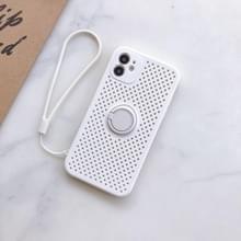 Liquid Siliconen Schokbestendige Mesh Case met magnetic ringhouder & lanyard voor iPhone 11 Pro Max(Wit)