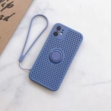 Liquid Siliconen Schokbestendige mesh case met magnetic ringhouder & lanyard voor iPhone 11 Pro Max(Blauw Grijs)