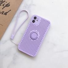 Liquid Siliconen Schokbestendige mesh case met magnetische ringhouder & lanyard voor iPhone 11 Pro Max(Licht paars)