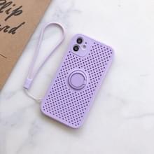 Liquid Siliconen Schokbestendige mesh case met magnetische ringhouder & lanyard voor iPhone 11 Pro(Licht paars)
