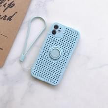 Liquid Siliconen Schokbestendige mesh case met magnetic ringhouder & lanyard voor iPhone 11 Pro(lichtblauw)