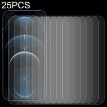 25 PCS Frosted Bright Edge Anti-fingerprint Tempered Glass Film Voor iPhone 12 Pro Max