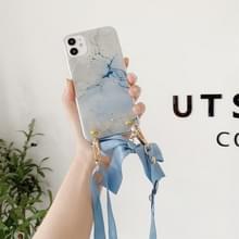Marmeren patroon pailletten lint strik TPU beschermhoes met halsband voor iPhone 11(Wit)