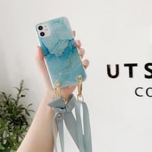 Marmeren patroon pailletten lint strik TPU beschermhoes met halsband voor iPhone 11 Pro(Blauw)