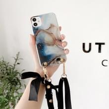Marmeren patroon pailletten lint bow tpu beschermhoes met halsband voor iPhone 11 Pro Max (Donkerblauw)