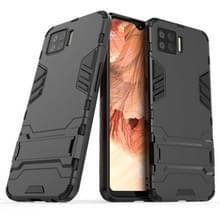 Voor OPPO F17 PC + TPU Schokbestendige beschermhoes met onzichtbare houder(zwart)