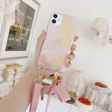 Gold Foil Style Dropping Glue Ribbon Bow TPU beschermhoes met halsband voor iPhone 11 Pro Max(Steen)
