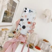 Gold Foil Style Dropping Glue Ribbon Bow TPU beschermhoes met halsband voor iPhone 11 Pro Max (Inktpunt)