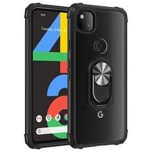 Voor Google Pixel 4a Schokbestendige Transparante TPU + acryl beschermhoes met ringhouder (zwart en zilver)