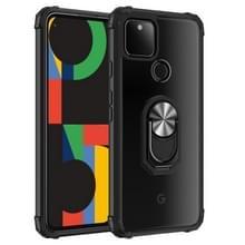 Voor Google Pixel 5 XL Schokbestendige transparante TPU + acryl beschermhoes met ringhouder (zwart en zilver)