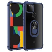 Voor Google Pixel 5 XL Schokbestendige transparante TPU + acryl beschermhoes met ringhouder(blauw)