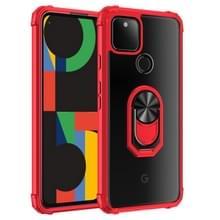Voor Google Pixel 5 XL Schokbestendige transparante TPU + acryl beschermhoes met ringhouder(rood)