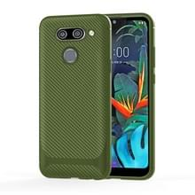 Voor LG K51 Carbon Fiber Texture Schokbestendige TPU beschermhoes (groen)
