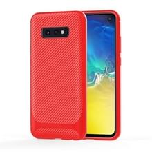Voor LG V60 ThinQ 5G Carbon Fiber Texture Schokbestendige TPU Beschermhoes(rood)