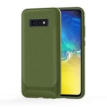 Voor LG V60 ThinQ 5G Carbon Fiber Texture Schokbestendige TPU Beschermhoes(groen)