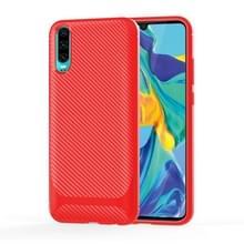 Voor Sony Xperia 1 II Carbon Fiber Texture Schokbestendige TPU beschermhoes (rood)