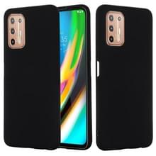 Voor Motorola Moto G9 Plus Pure Color Liquid Siliconen Schokbestendige Full Coverage Case (Zwart)