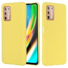 Voor Motorola Moto G9 Plus Pure Color Liquid Siliconen Schokbestendige Full Coverage Case (Geel)