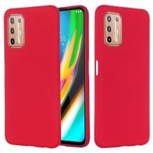 For Motorola Moto G9 Plus Pure Color Liquid Silicone Shockproof Full Coverage Case(Red)