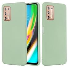 Voor Motorola Moto G9 Plus Pure Color Liquid Siliconen Schokbestendige Full Coverage Case (Groen)