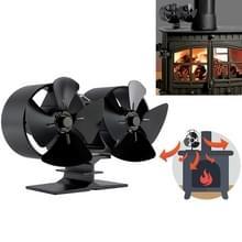 Dubbele kop 8-Blade aluminium warmte aangedreven open haard kachel ventilator