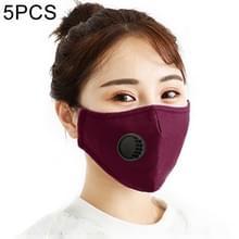 5 PCS voor heren Vrouwen Wasbare Vervangbare Filter Breath-Valve PM2.5 Stofdicht gezichtsmasker (Donkerrood)