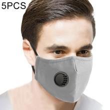 5 PCS voor heren Vrouwen Wasbare Vervangbare Filter Breath-Valve PM2.5 Stofdicht gezichtsmasker (Grijs)