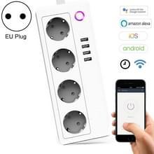 4 x USB poorten + 4 x EU Plug Jack 16A Max WiFi Remote Control Smart Power uitgang werkt met Alexa & Google Startpagina & IFTTT  AC 230V  EU Plug