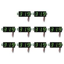 10 stuks 0 28 inch 2 draden Voltages regelbaar digitale Voltage Meter  licht kleurendisplay  maatregel: DC 2.5-30V(Green)