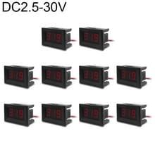 10 stuks 0 36 inch 2 draden digitale Voltage Meter met Shell  licht kleurendisplay  maatregel Voltage: DC 2.5-30V (rood)