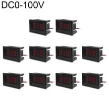 10 PCS 0.36 inch 3 Wires Digital Voltage Meter with Shell  Color Light Display  Measure Voltage: DC 0-100V (Red)