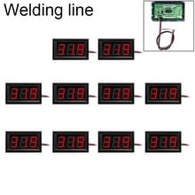 10 PCS 0.56 inch 2 Welding Wires Digital Voltage Meter with Shell  Color Light Display  Measure Voltage: DC 4.5-30V (Red)
