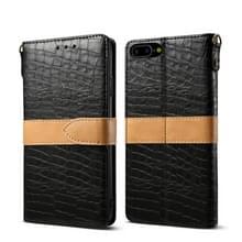 iPhone 7 Plus & 8 Plus horizontaal Tweekleurig krokodil structuur PU leren Flip Hoesje met houder  grote draagriem en opbergruimte voor pinpassen (zwart)