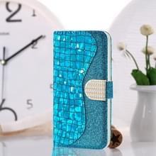 Laser glitter poeder krokodil textuur bijpassende horizontale Flip lederen draagtas met kaartsleuven & houder voor Huawei P30 Lite (blauw)