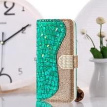 Laser glitter poeder krokodil textuur bijpassende horizontale Flip lederen draagtas met kaartsleuven & houder voor Huawei P30 Lite (groen)