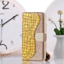Laser glitter poeder krokodil textuur bijpassende horizontale Flip lederen draagtas met kaartsleuven & houder voor Huawei P30 Pro (goud)