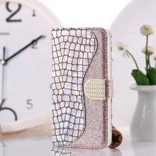 Krokodil textuur matching horizontale Flip lederen draagtas met kaartsleuven & houder voor Galaxy S10 plus (zilver)