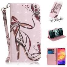 3D gekleurde tekening horizontale Flip lederen draagtas met houder & kaartsleuven & portemonnee voor Huawei P30 (Butterfly hoge hakken)
