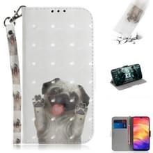 3D gekleurde tekening horizontale Flip lederen draagtas met houder & kaartsleuven & portemonnee voor Huawei P30 (PUG)