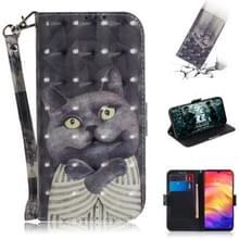 3D gekleurde tekening horizontale Flip lederen draagtas met houder & kaartsleuven & portemonnee voor Redmi Note 7 (Embrace kat)