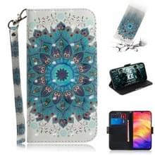 3D gekleurde tekening horizontale Flip lederen draagtas met houder & kaartsleuven & portemonnee voor Redmi Note 7 (Peacock krans)