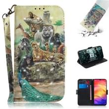 3D gekleurde tekening horizontale Flip lederen draagtas met houder & kaartsleuven & portemonnee voor Redmi Note 7 (dierentuin)