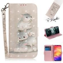 3D gekleurde tekening horizontale Flip lederen draagtas met houder & kaartsleuven & portemonnee voor Redmi Note 7 (drie eekhoorns)