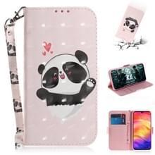 3D gekleurde tekening horizontale Flip lederen draagtas met houder & kaartsleuven & portemonnee voor Redmi Note 7 (Love Panda)