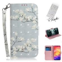 3D gekleurde tekening horizontale Flip lederen draagtas met houder & kaartsleuven & portemonnee voor Redmi Note 7 (Magnolia)