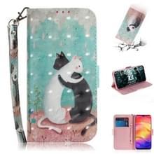 3D gekleurde tekening horizontale Flip lederen draagtas met houder & kaartsleuven & portemonnee voor Redmi Note 7 (zwart witte kat)