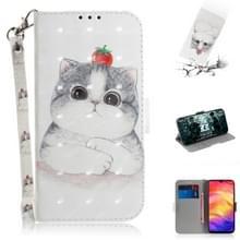 3D gekleurde tekening horizontale Flip lederen draagtas met houder & kaartsleuven & portemonnee voor Redmi Note 7 (cute cat)