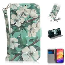 3D gekleurde tekening horizontale Flip lederen draagtas met houder & kaartsleuven & portemonnee voor Redmi Note 7 (aquarel bloem)