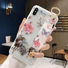 Bloemen patroon polsband zachte TPU beschermende case voor Galaxy S9 plus (bloemen polsband model B)