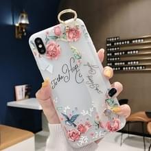 Bloemen patroon polsband zachte TPU beschermende case voor Galaxy S9 plus (bloemen polsband model C)